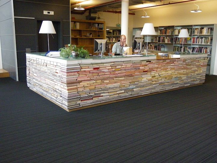 Library Desk Made from Recycled Books...cool DIY coffee table idea: Libraries, Idea, Book Desk, Recycled Books, Desks, Design, Old Books