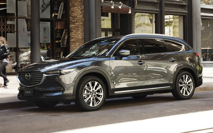 Download wallpapers Mazda CX-8, 4k, street, 2018 cars, new CX-8, crossovers, Mazda