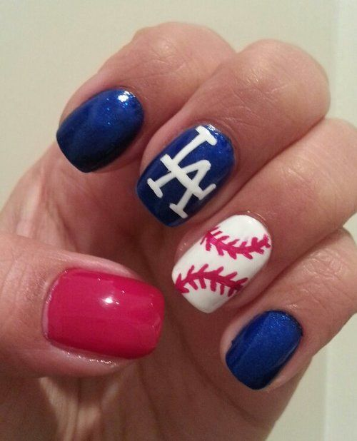 Baseball Nails. Love this! Go Dodgers!