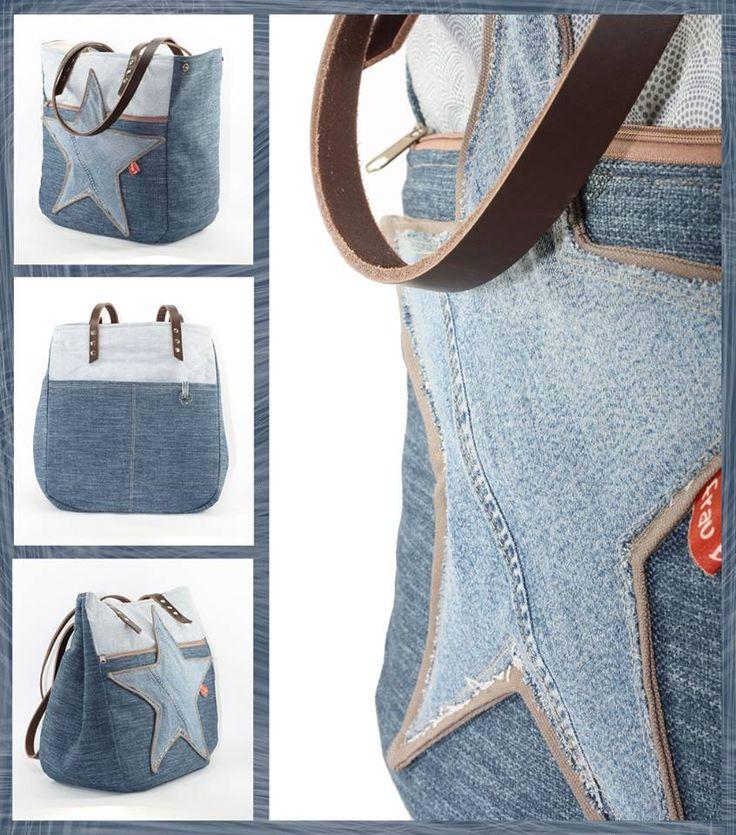 Sterntaschen nach einem Schnitt von lillesol&pelle kann man nie genug haben. Diese ist vergrößert und mit Druckknöpfen zum vergrößern/verkleinern gefertigt. Es wurde eine alte Jeans vernäht, dazu ein derber Möbel- und ein fein gemusterter Baumwollstoff.
