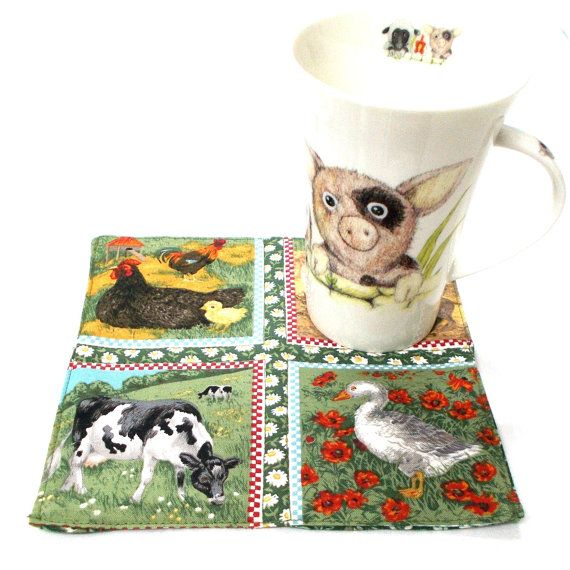 Farm Animals Mug Rug, Fabric Snack Mats, Quilted Cup Coasters, Mini Quilts, Coffee Cup Mat, Christmas Gifts, Xmas Ideas, Table Coaster,