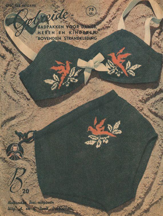 1940s Knitting Pattern for Womens 2 piece swimsuit von Interbellum