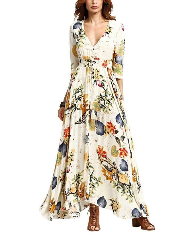 6eeb5fbbdf1c Casual Sexy Deep V Neck Bohemian Style Floral Print Sandbeach Maxi Dre  #maxidress #maxidressesgorgeous #maxidressessummer #dresses #dressesforwomen
