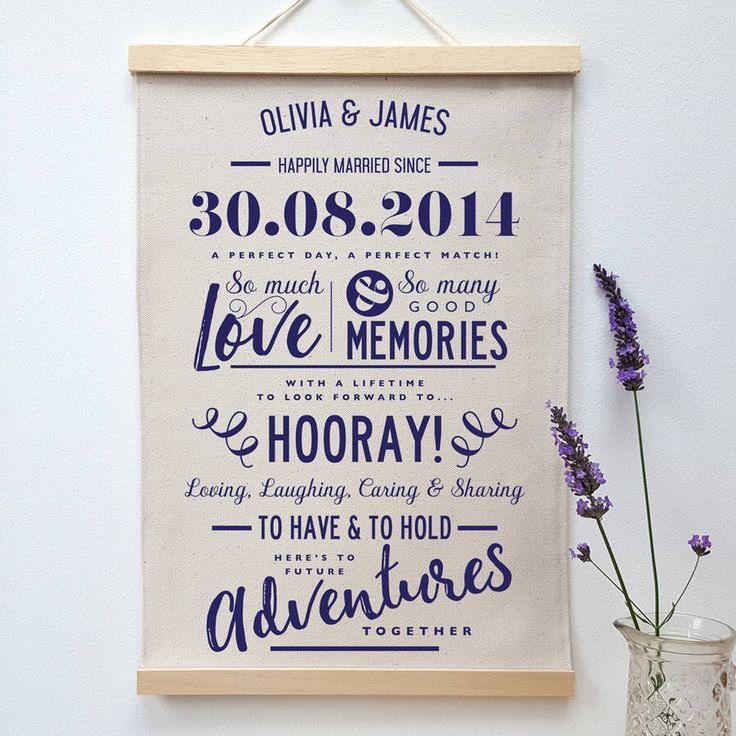 I've just found Personalised Cotton Anniversary Print. Our personalised cotton anniversary print makes a great 2nd cotton anniversary gift. Also available on denim cotton, it makes a lovely wedding anniversary gift.. £39.00