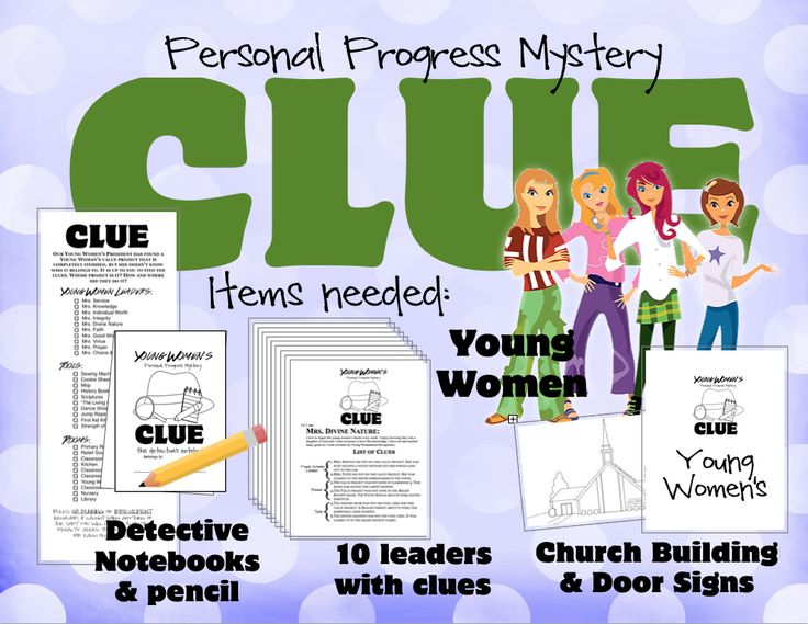 Personal Progress Mystery Night was so much fun! Each girl got her own clue notebook which is just a piece of paper cut in half. I color coated the papers (notebooks) and told the girls to team up …