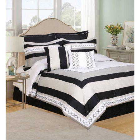 Henrik 8-Piece Bedding Comforter Set, Queen, Black