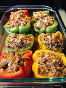 Mexican Stuffed Peppers with Quinoa.  High in protein and low in fat - if you cut back on the cheese.  ;)  These can be made with ground turkey or vegetarian by leaving out the meat. Delish!!