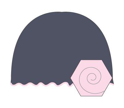 vintage hat: slate grey/light pink flower