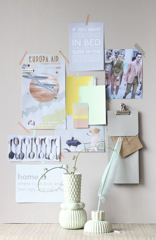 moodboard with pastels. Vases from Finnsdottir, Norway Designs.  Feather Pen from Hay. / P