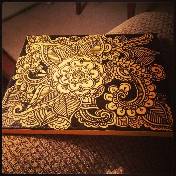 "Henna Doodle Art on Canvas 10"" x 8"""