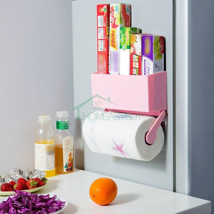 Kitchen Magnetic Wall Mount Paper Towel Holder & Storage Rack