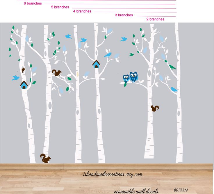 Wall Decal Birch Tree - Great for a nursery decor or playroom. custom colors include a name .  *This decal comes in the color of your choice (please see color palette).  Dimensions are : 102  h (approx)  Name is about 18  w x 5-7  h (vary depending on the name)  Please pick an option ( you can see them on pic #4)   Colors: Color 1 (Tree and Branch): Choose 1 color Color 2 (leaves): Choose 1 color Color 3 owls: Choose 1 color Color 4 squirrels one color  Above items are all separated so you…