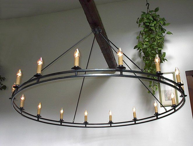 HAND-FORGED, signed, custom Wrought Iron Chandelier