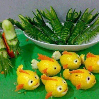 Lemon fish,cucumber prawns - food decor ideas