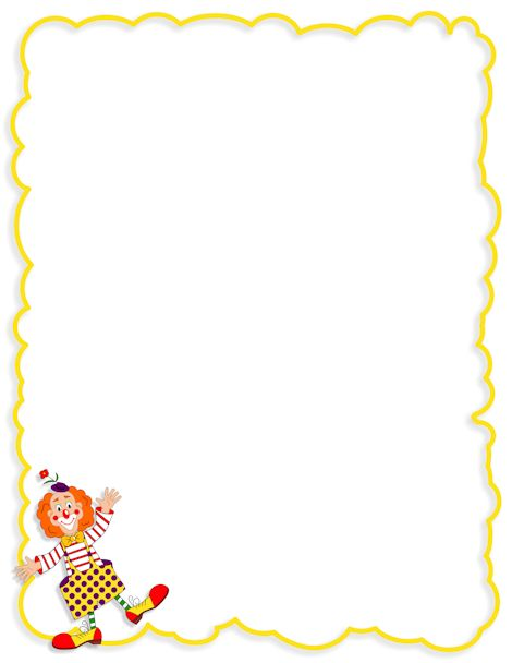 Clown page border. Free downloads at http://pageborders.org/download/clown-border/