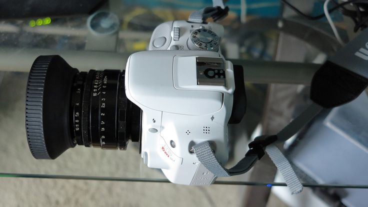 White Canon Rebel SL1 mounting Helios 44-2 (with 49mm rubber hood).  http://ehowton.livejournal.com/tag/camera