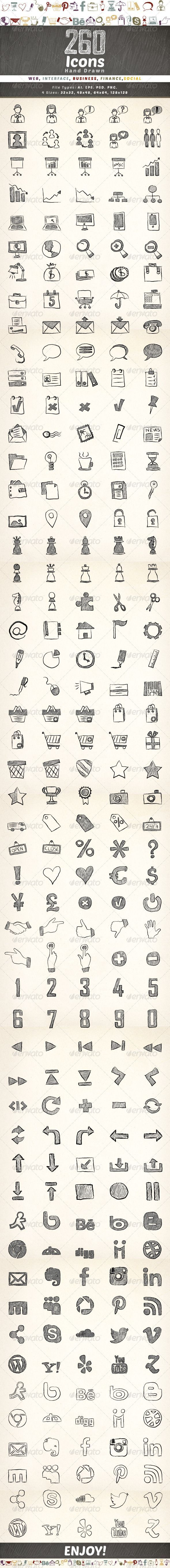 260 Hand Drawn Icons