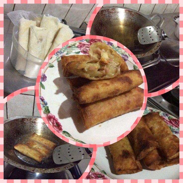 Lumpia rogut isi sosis,fishcake keju tabur home made no filter