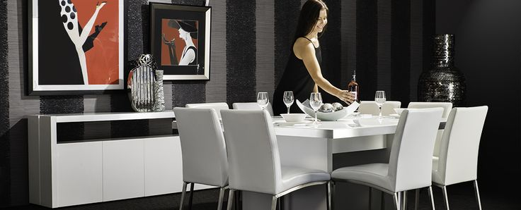Rhode Island dining setting The clean lines of the Rhode Island collection are pure class with pristine white gloss lacquer, brushed aluminium trim and white glass top. Perfect to create an ultra-chic and stylish look for your home.