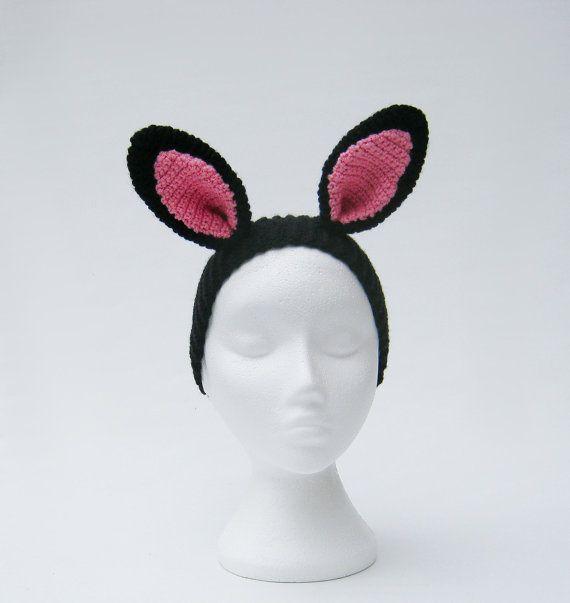 Black bunny ears headband rabbit ears crochet animal by jarg0n, £25.00