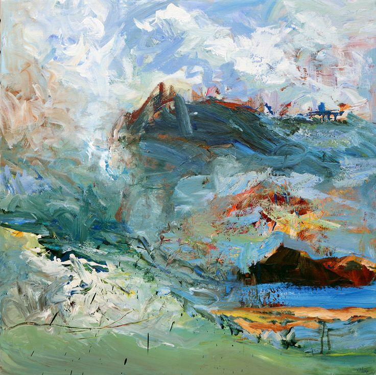 """Abstract Painting by Veronica Plewman - Wind, Rain, and Green Channel Beach, 2014 Acrylic on Canvas, 32"""" x 32"""""""