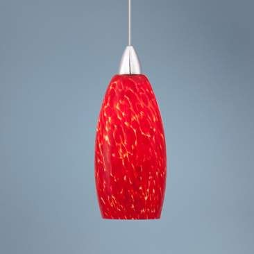 Possini Euro Strada Red Art Glass LED Mini Pendant Light