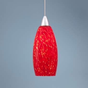 Possini Euro Strada Red Art Glass LED Mini Pendant Light