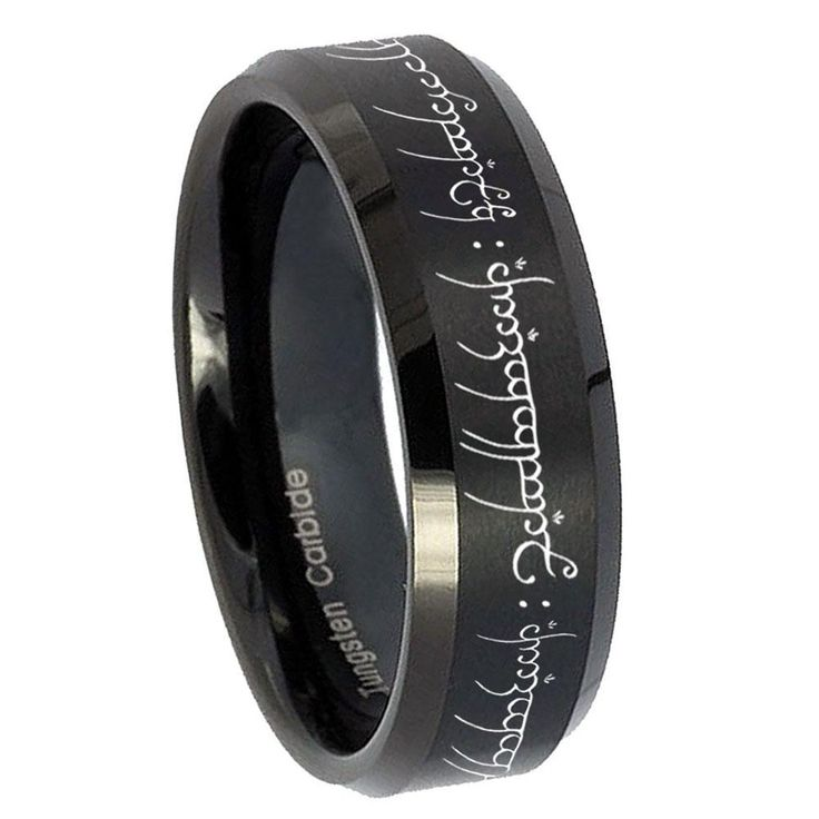 10mm lord of the ring beveled edges brush black tungsten