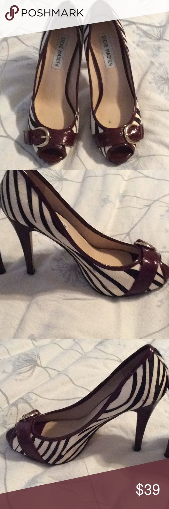 Zebra heels Preloved zebra fur fabric with maroon Patton leather buckles. These are adorable great condition Steve Madden Shoes Heels