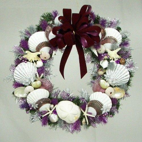 Christmas seashell wreath 20 green wreath coastal beach for Seashell wreath craft ideas