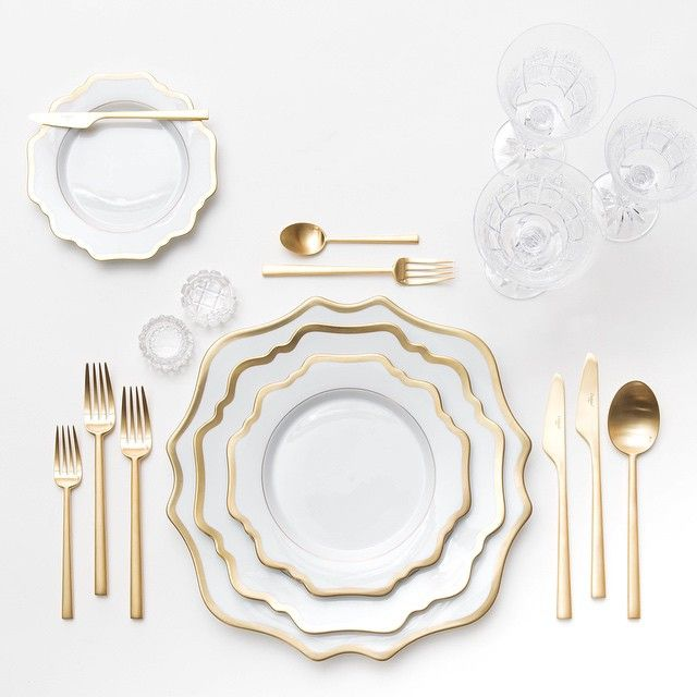 Anna Weatherley Dinnerware + Gold Collection Flatware + Czech Crystal/Coupe Trios + Antique Crystal Salt Cellars | Casa de Perrin Design Presentation