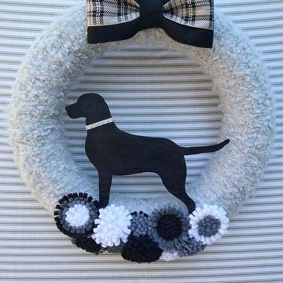 Black Lab Wreath Black Dog Wreath Dog Wreath by TweetTweetWreaths
