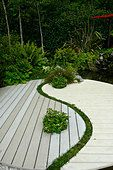 ying yang harmony symbol feng shui japanese asian garden gardening planting scheme national garden exhibition centre - Stock Photo