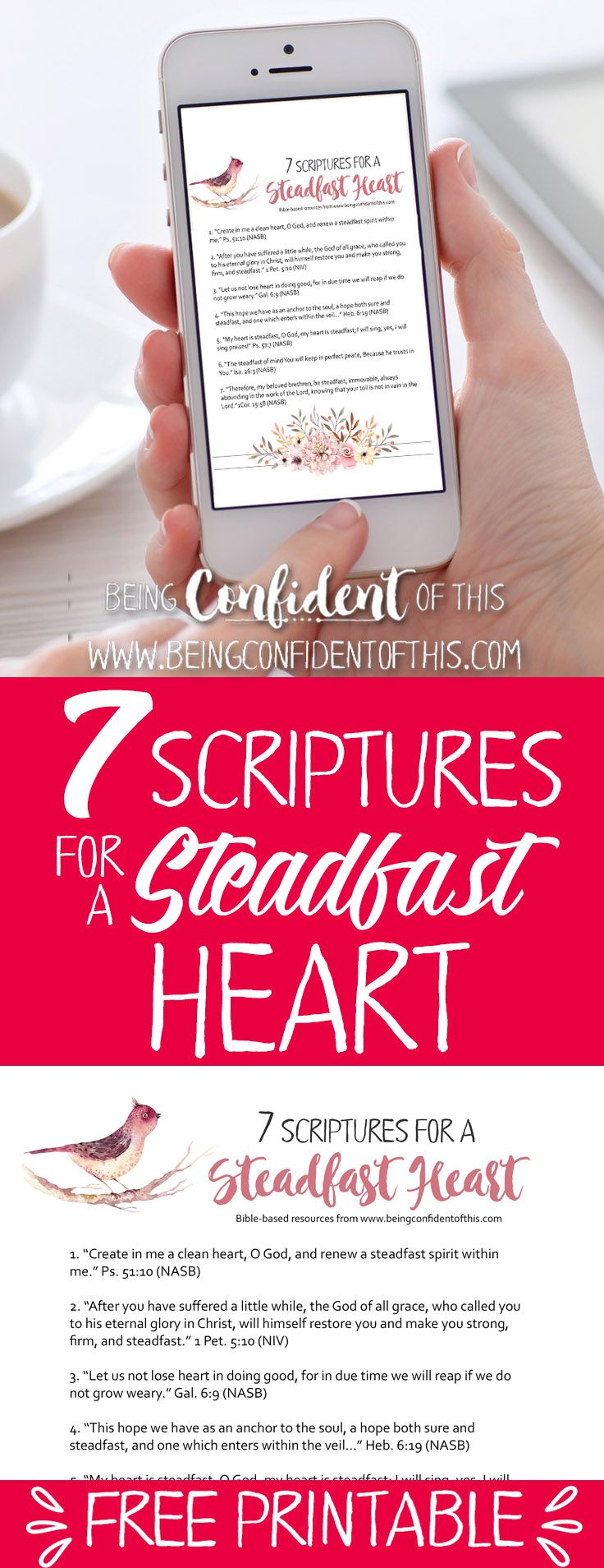 Print out this free Scripture reminder of how to be a steadfast woman! Use God's Holy Word to help strengthen your faith and give you confidence. Becoming a Steadfast Woman, christian women, bible verses for confidence, studying the bible, faith, faith blog, christian mom, christian wife, free printables, free faith-based resources #Bibleverse #printable #steadfast