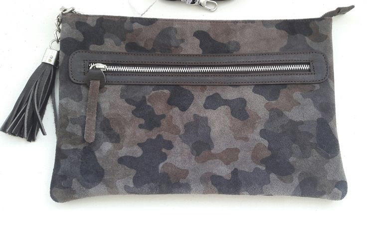 Gray Camouflage Suede Clutch; Suede Clutch; Camouflage Clutch with Tassel; Handmade Clutch by HELIXSIS on Etsy