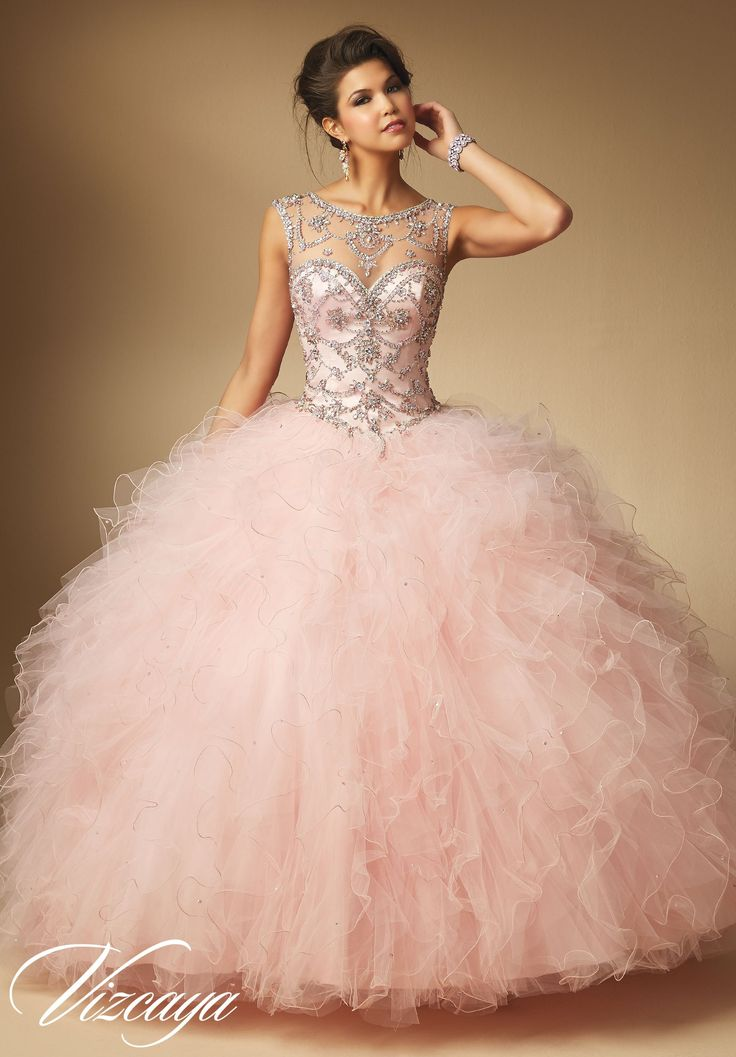 Mori Lee Vizcaya Quinceanera Dress Style 89041 is made for girls who want to look like a beautiful Princess on her Sweet 15. Made out of tulle, this ball gown features a sleeveless bodice with a lovel