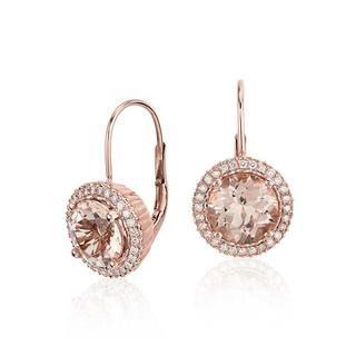 Morganite Halo Diamond Earrings In 9k Rose Gold (7mm)