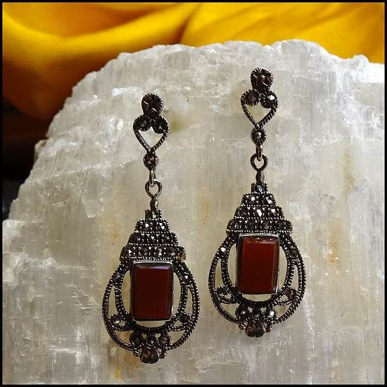 Art Deco Vintage Earrings Sterling Marcasite Carnelian