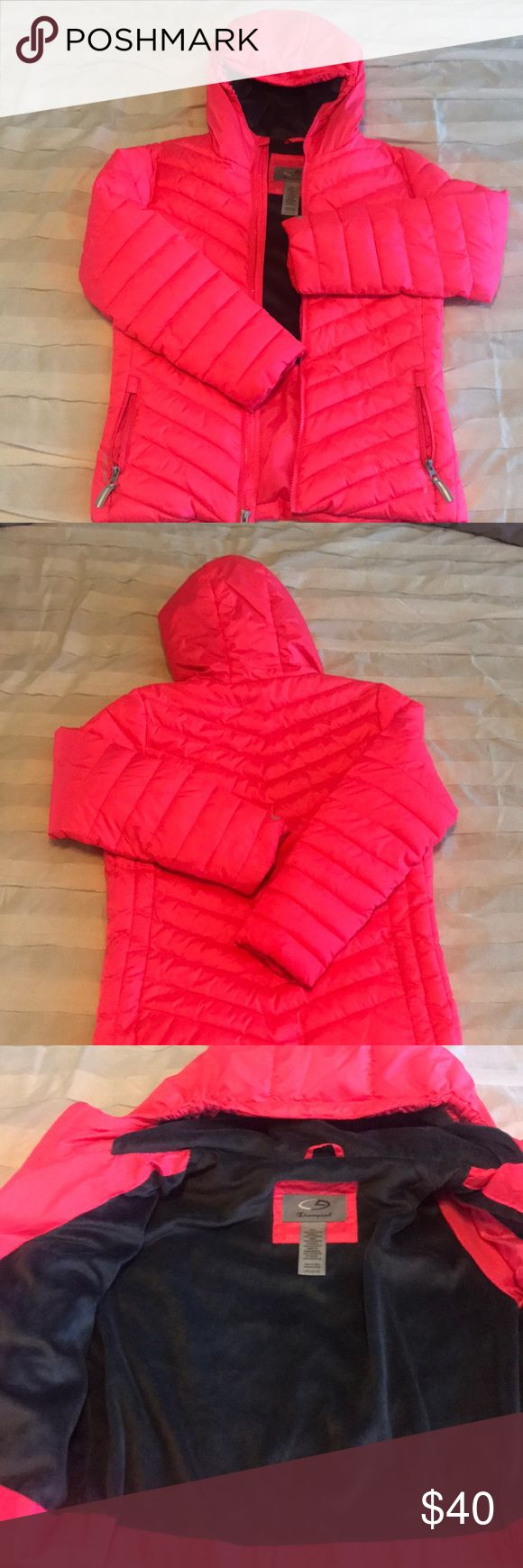 Girl's Champion Hooded Ventureloft Puffer Coat EUC - probably only worn once or twice. Beautiful bright, neon pink shell with dark charcoal partial fleece lining and fleece lined hood. Girl's Size L - 10/12. Champion Jackets & Coats Puffers
