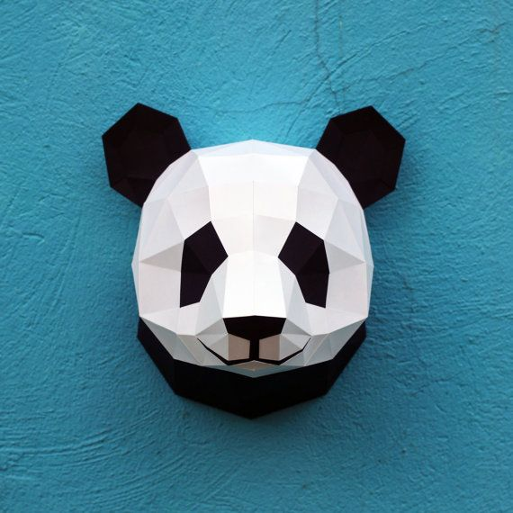 Vous pouvez créer votre propre tête de panda pour la décoration murale ! Modèle de bricolage imprimable (PDF) contient 6 pages : le papier -