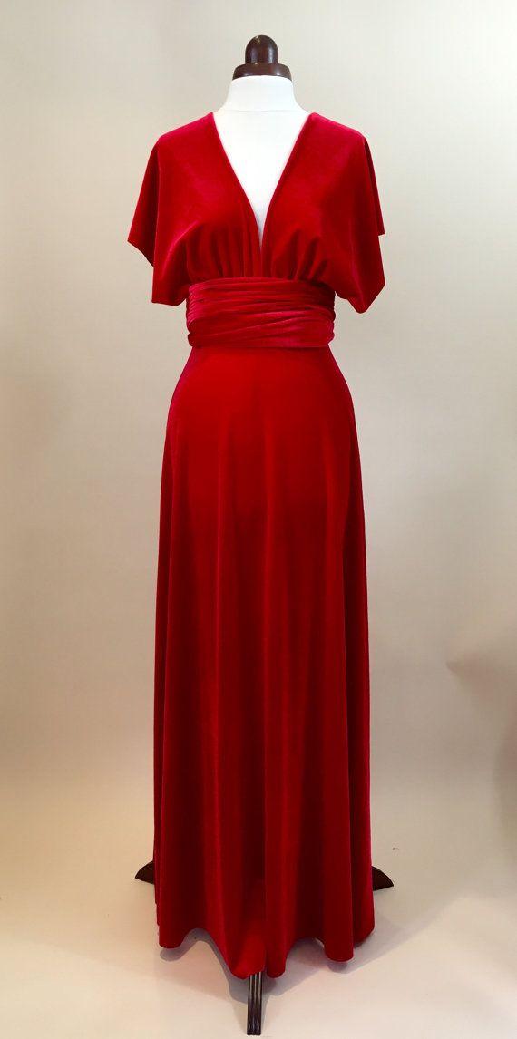 Prom dress bridesmaid dress infinity dress red velvet by Valdenize