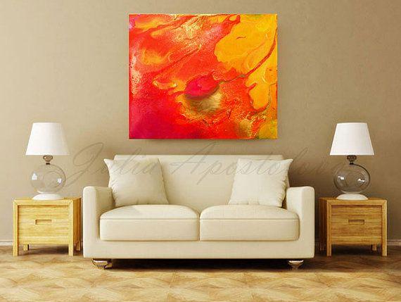 #OrangeAbstractPainting, #AbstractPrint, #ModernCanvas #WallDecor #OrangeArt…