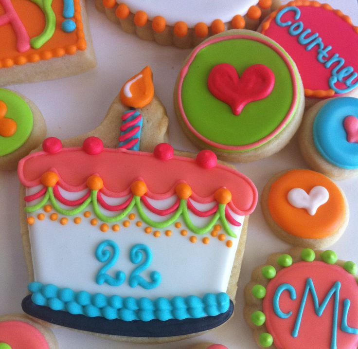 LIKE THE HEARTS----Colorful birthday cake cookie.