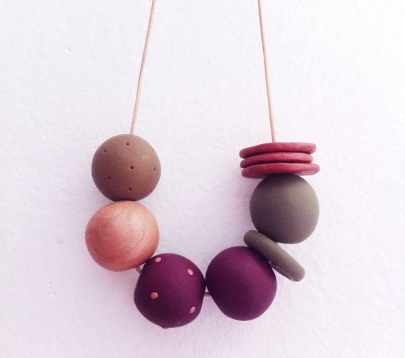 Dolores  Handmade polymerclay necklace 9 bead by onthedotdesign