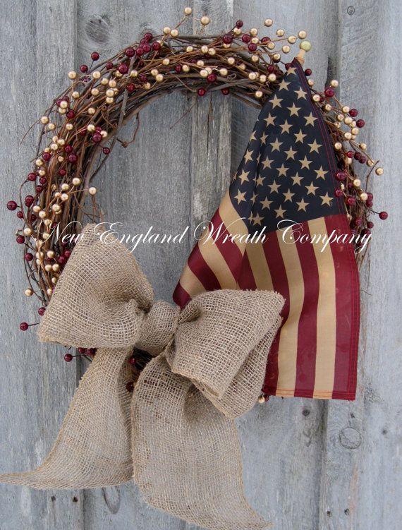 I think I could easily make this! Americana Wreath, Patriotic Wreath,, Spring Wreath, Summer, 4th of July Wreath, Tea Stained Flag on Etsy, $99.00