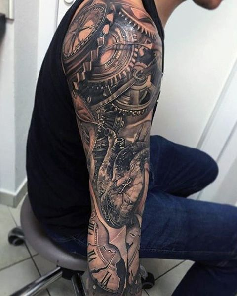 Male Full Sleeves Mechanical Gear Tattoo