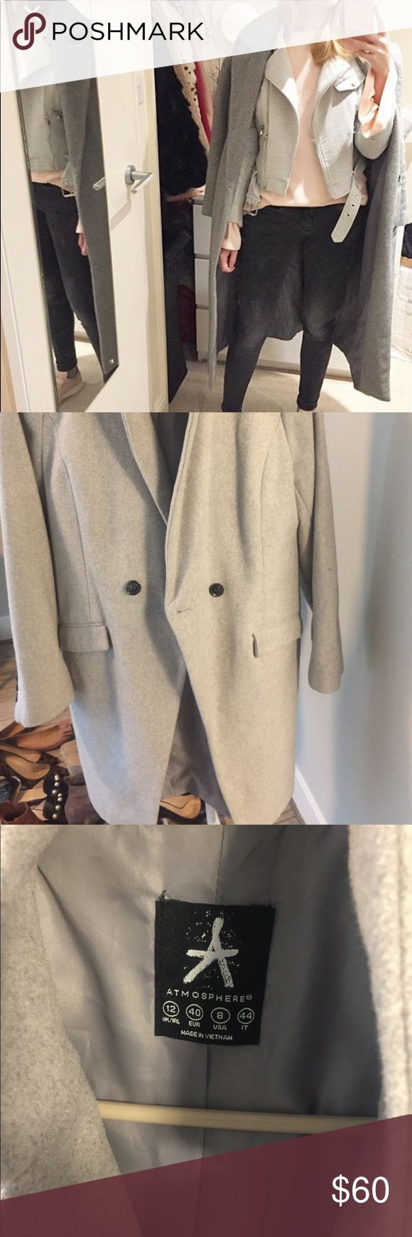Primark Long Gray Coat Only worn twice versatile gray coat. Above knee length and perfect for casual and dressy attire. Great for layering! primark Jackets & Coats