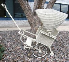 victorian baby strollers | ANTIQUE LLOYD LOOM WICKER BABY/CHILD STROLLER/WAGON WITH TOP GREAT FOR ...