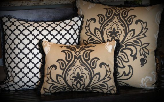 defined damask pillow black tan  cream  black trim damask pattern decorative lumbar