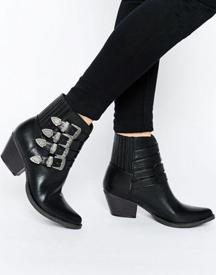 Glamorous Multi Buckle Western Ankle Boots